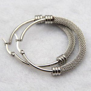316L Stainless Steel 48mm Silver Hoops